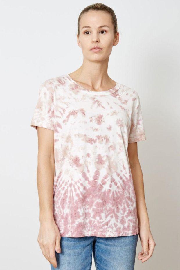 good hYOUman. T-Shirt DAKOTA C'est la Vie Curved - Ash Rose Tide Wash