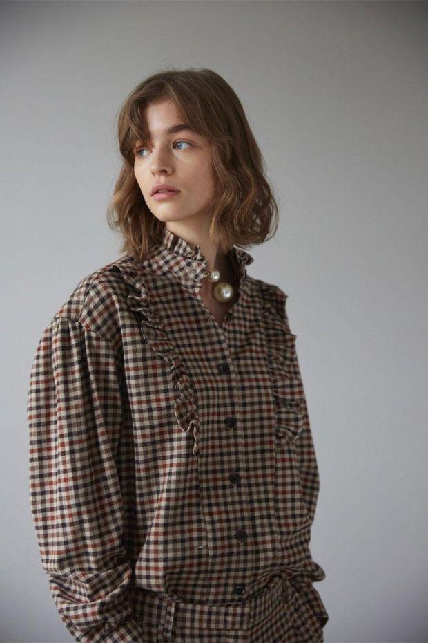 Designers Remix Blouse ALFIE - Brown Check