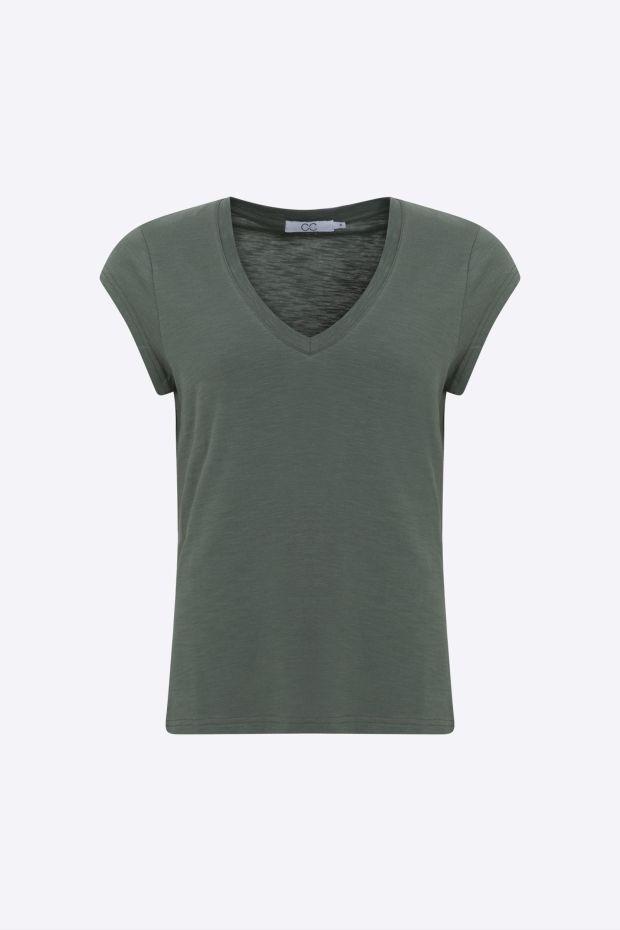 Coster Copenhagen CC Heart Basic V-neck T-Shirt - Moss Green