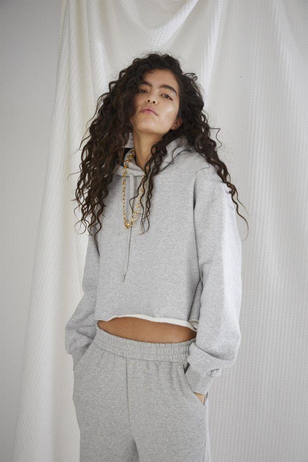 Designers Remix WILLIE Embrodered Back Cropped Hoodie - Grey Melange