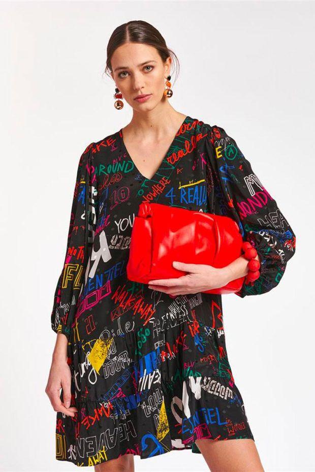 Essentiel Antwerp Robe ACETONE Ruffled Tier Dress - Combo Black