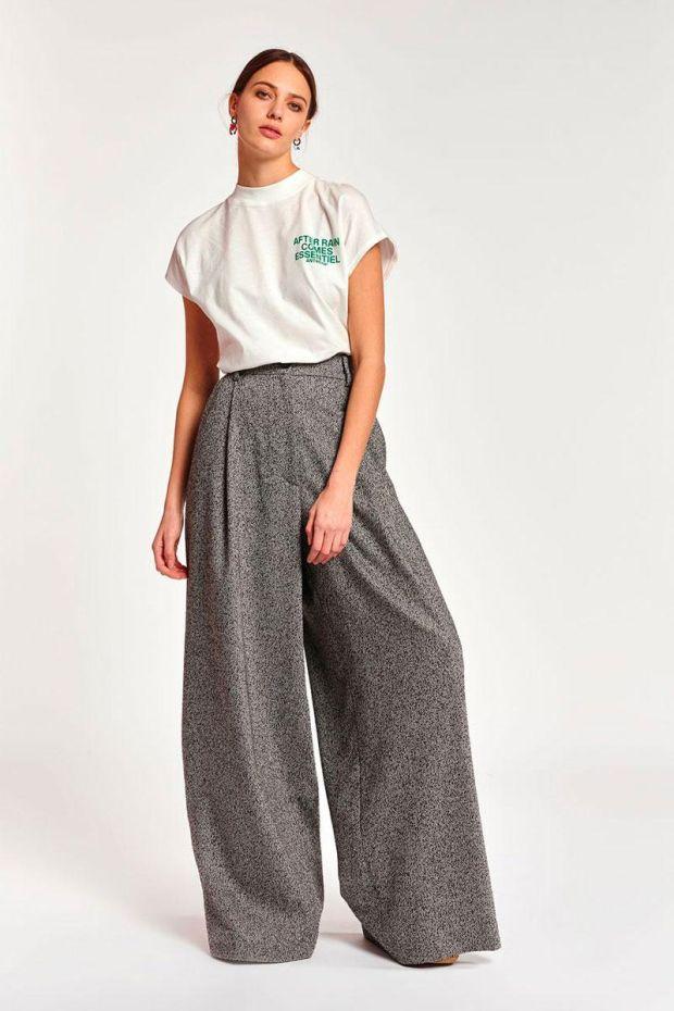 Essentiel Antwerp Pantalon ACCOLADE Wide Leg pleat Pants - Combo Smoky Grey
