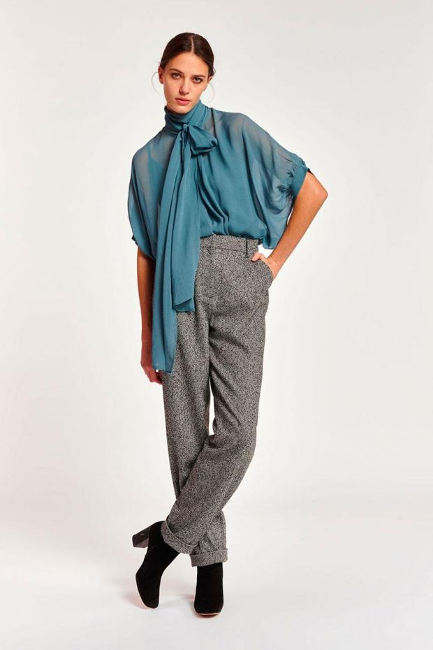 Essentiel Antwerp Pantalon ACORN Pleated Pants - Combo Smoky Grey