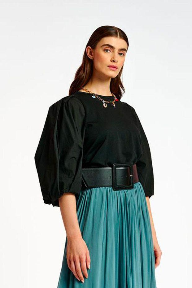 Essentiel Antwerp Blouse APERO Poplin Sleeves T-Shirt - Black