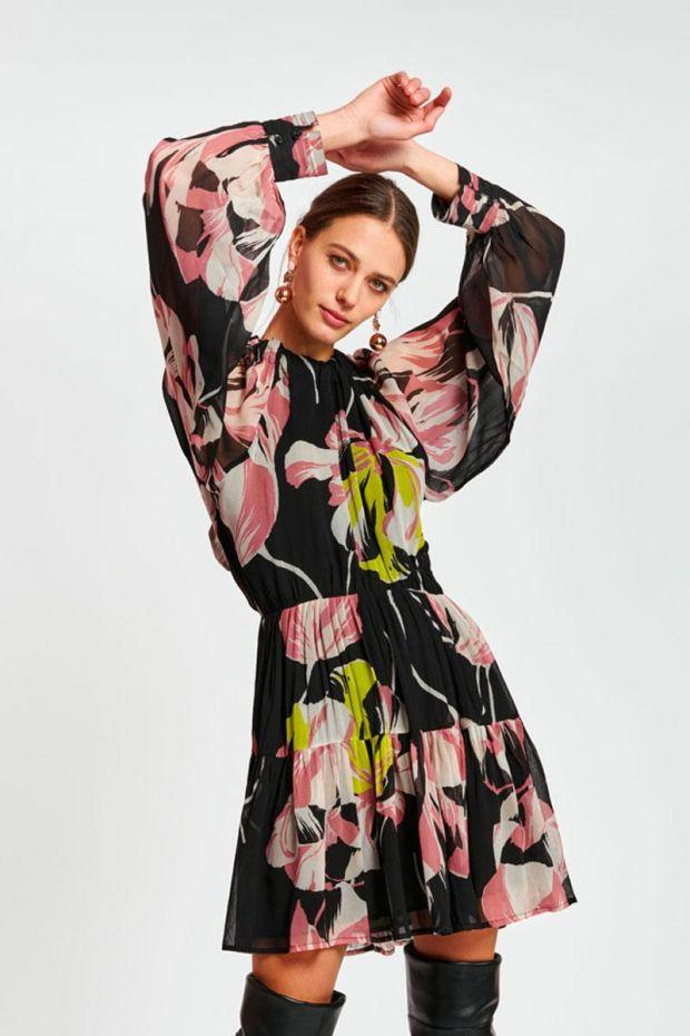 Essentiel Antwerp Robe AUBREY Puff sleeve Minidress - Combo Black