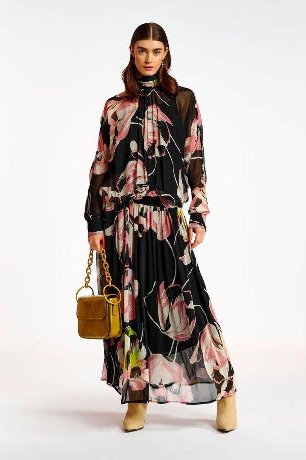 Essentiel Antwerp Robe ATTE Voluminous maxi Dress - Combo Black