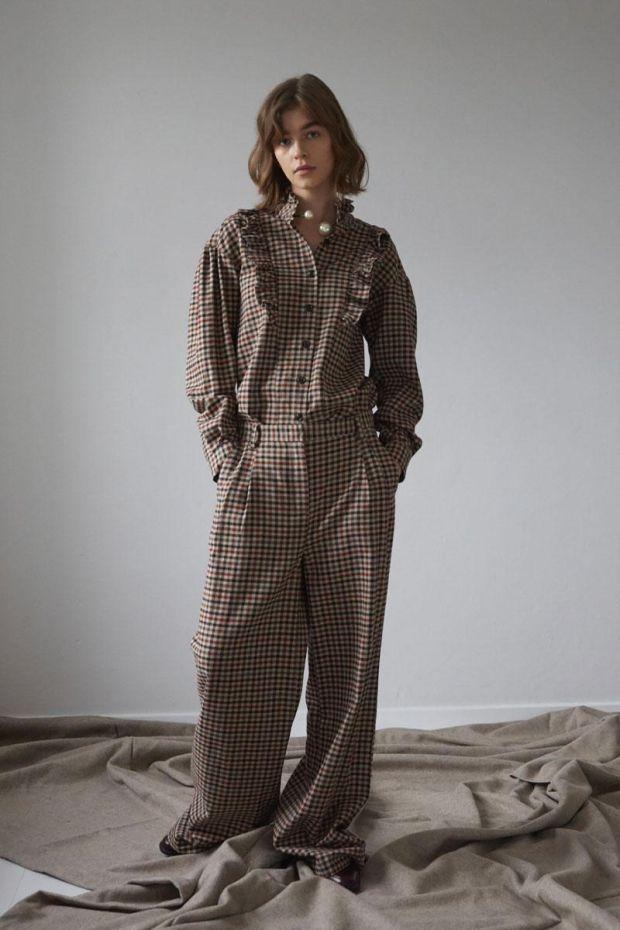 Designers Remix Pantalon ALFIE Wide pants - Brown Check
