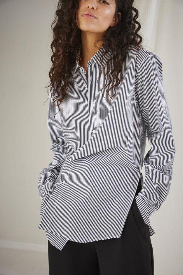 Designers Remix Chemise SMILLA Draped Shirt - CreamBlue Stripes
