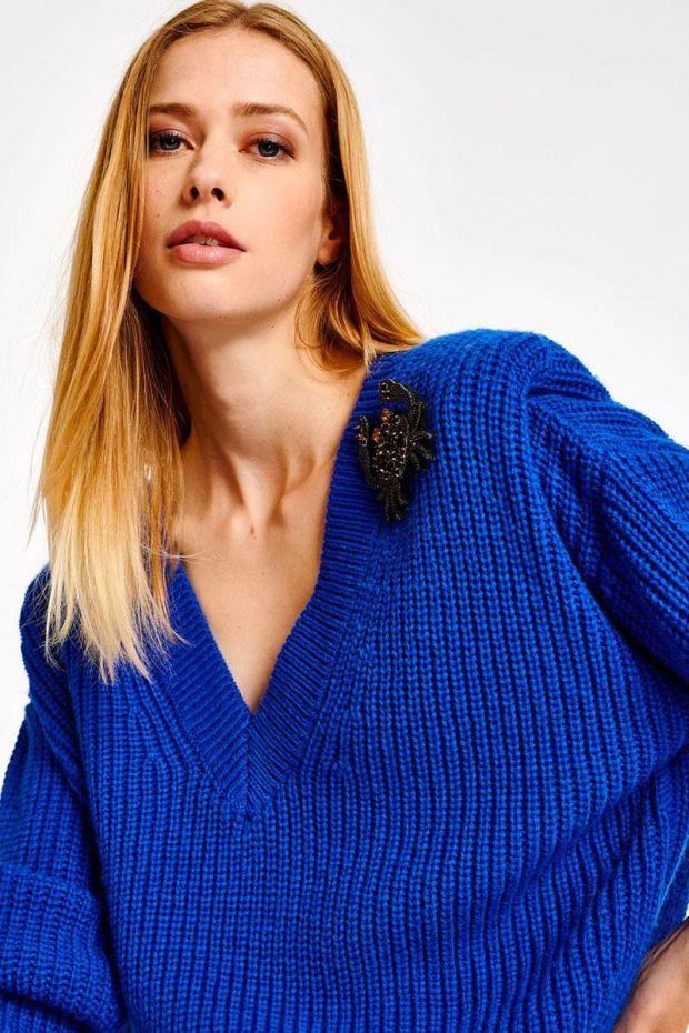 Essentiel Antwerp Pull ALMENARA V-Neck Sweater - Klein Blue