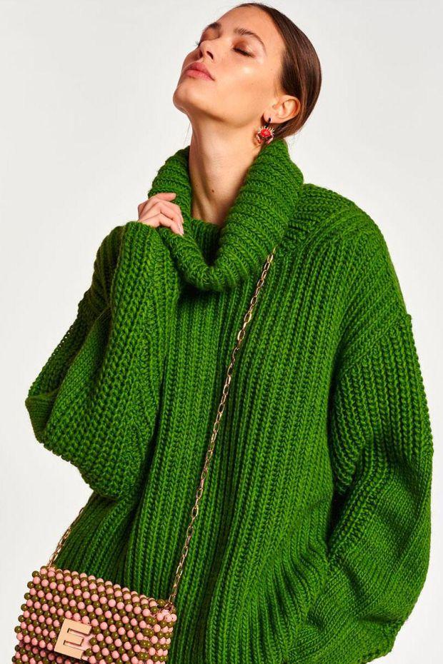 Essentiel Antwerp Pull ANJOU English Ribs Sweater - Anti Green