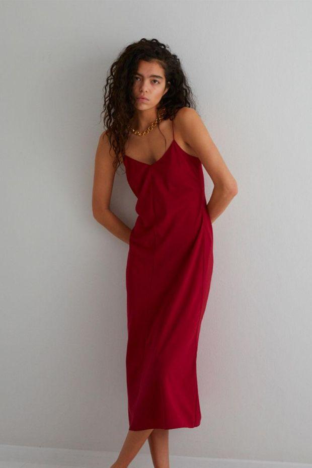 Designers Remix Robe Valerie Long slip Dress - Lipstick Red