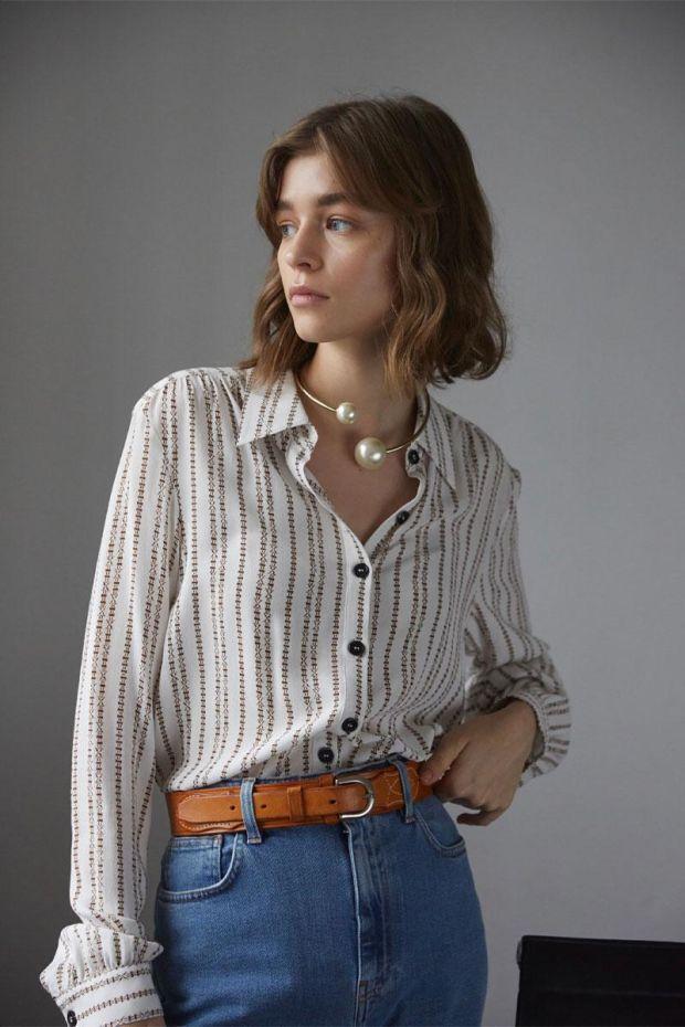 Designers Remix Blouse MADEIRA Shirt - CreamBrown Print