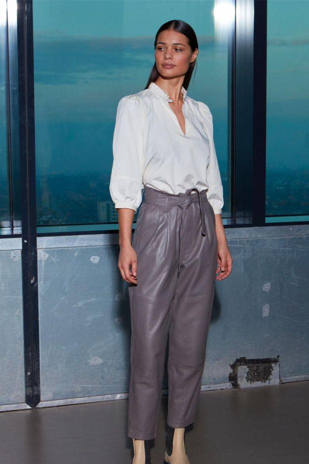 Coster Copenhagen Pantalon Cuir - Brown Grey