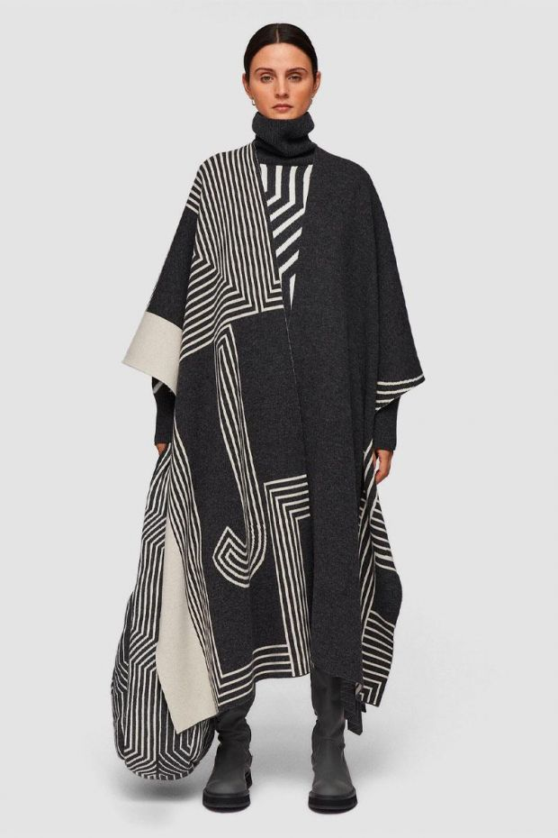 Joseph Poncho Kaftan Wool - Graphite Combo