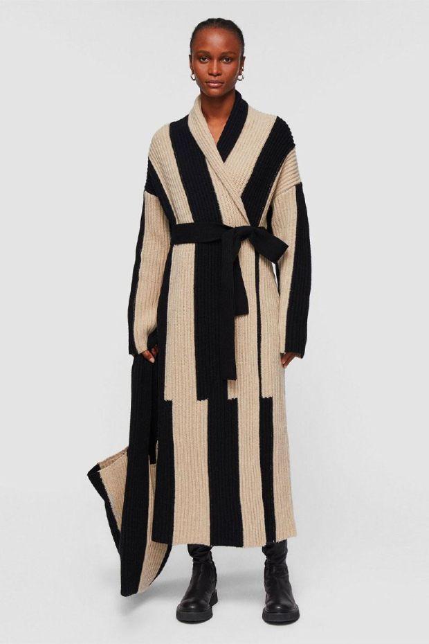 Joseph Manteau Cardigan Stitch Coat - Black Combo