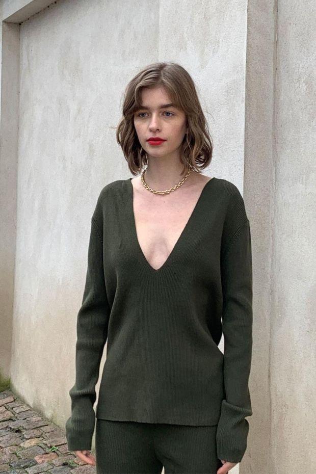 Designers Remix Pull Robin V Sweater - Dark Green